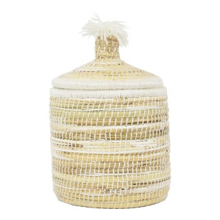 Seagrass Basket With Lid Small For Sale