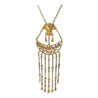 Egyptian Revival Statement Necklace For Sale