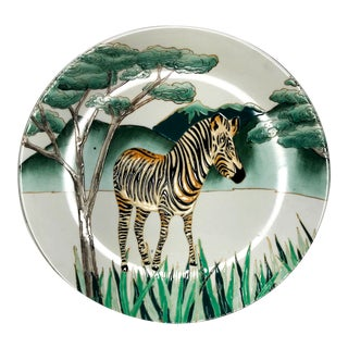 Late 20th Century Vintage Chinoiserie Hand Painted Enamel Zebra Porcelian Plate & Hanger For Sale