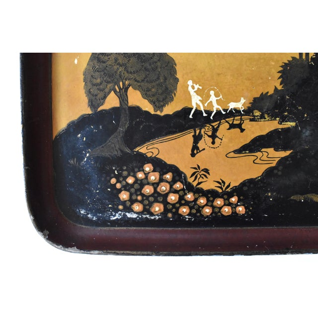 Early 20th Century Rare Antique 1920s Papier Mache Pochoir Print Tray For Sale - Image 5 of 12