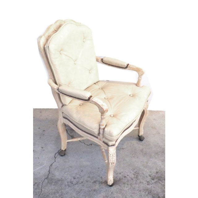 Traditional Victorian White Washed Wood Leather Office Chair For Sale - Image 3 of 7