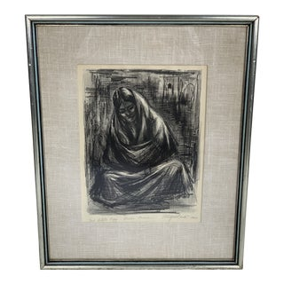 """Vintage Mid-Century """"Madre Mexicana"""" Chalk Drawing For Sale"""