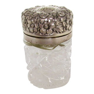 Late 19th Century American Hamilton & Dresinger Brilliant Cut Glass Sterling Silver Repousse Jar For Sale