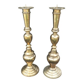 Vintage Large Brass Candle Pillars - a Pair For Sale