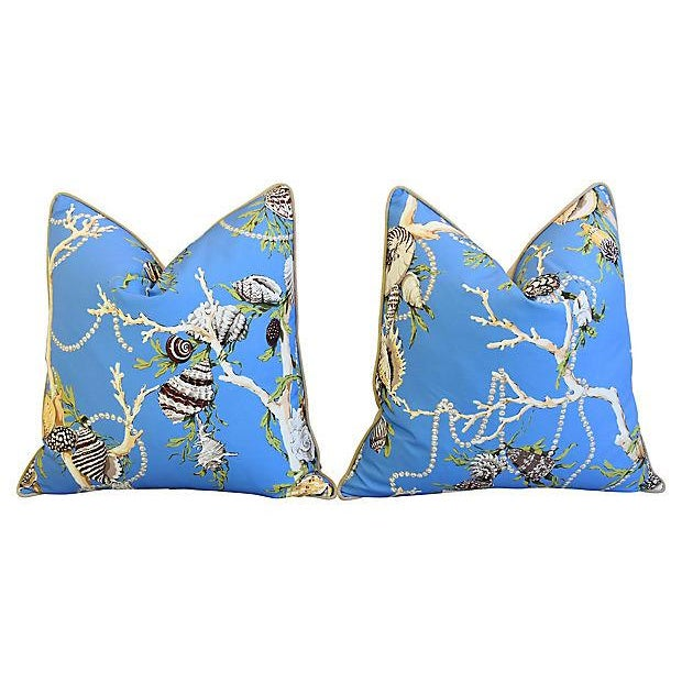 """Designer Nautical Blue Coral & Shells Feather/Down Pillows 26"""" Square - Pair For Sale - Image 4 of 12"""