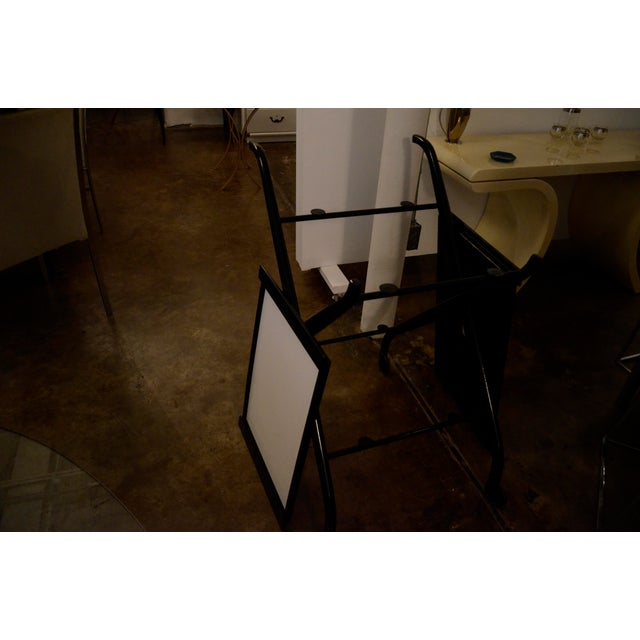 Foldable Newly Laquered Wood Frame & Removable Melamine Tray Bar Cart - Image 6 of 7