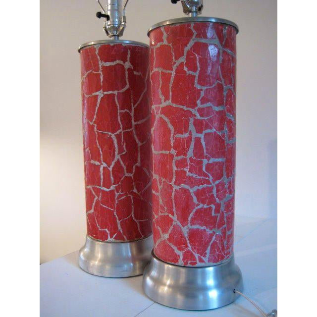 1940s A Pair of Column Lamps by Bouck White In Crackle For Sale - Image 5 of 5