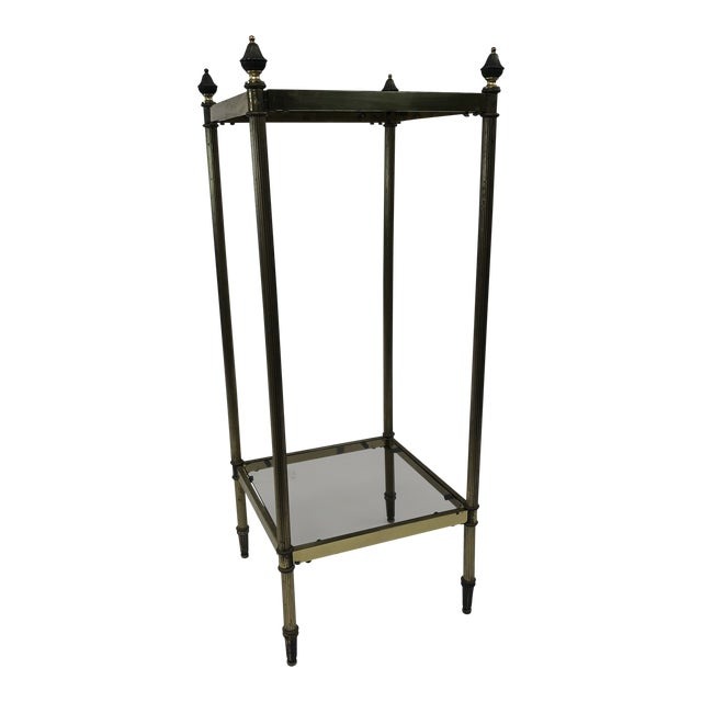 Mid Century Brass Two Tier Glass Side Table For Sale