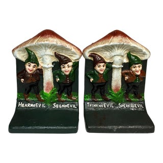 "Antique Bradley & Hubbard Iron ""No Evil"" Bookends - a Pair For Sale"