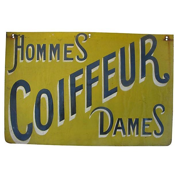 1950s Two Sided French Hairdresser's Store Sign - Image 1 of 2