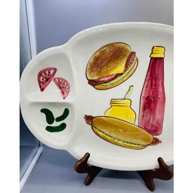 Yellow Los Angeles Potteries Bbq Grill Sectional Platter/ Vintage Hamburger and Hot Dog Serving Plate For Sale - Image 8 of 11