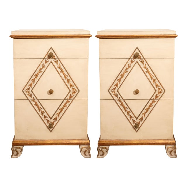 Directoire Style Painted Bedside Tables - A Pair For Sale