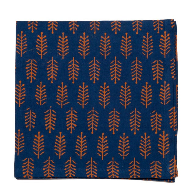 Contemporary Fern Napkins, Teal & Orange - A Pair For Sale - Image 3 of 4