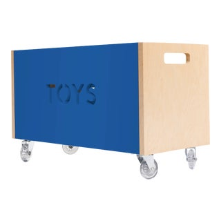 Toy Box Chest on Casters in Birch With Pacific Blue Finish For Sale