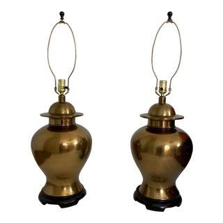 Vintage Paul Hanson Brass Ginger Jar Lamps - a Pair For Sale