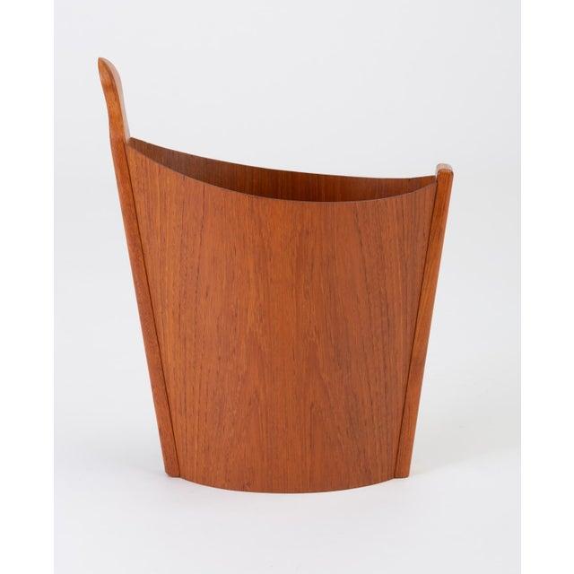 Asymmetric Teak Waste Basket by Westnofa For Sale - Image 13 of 13