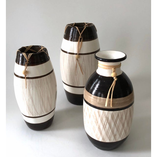 Group of Brazilian Vases With Raffia and Bone Bead Detail For Sale - Image 12 of 12