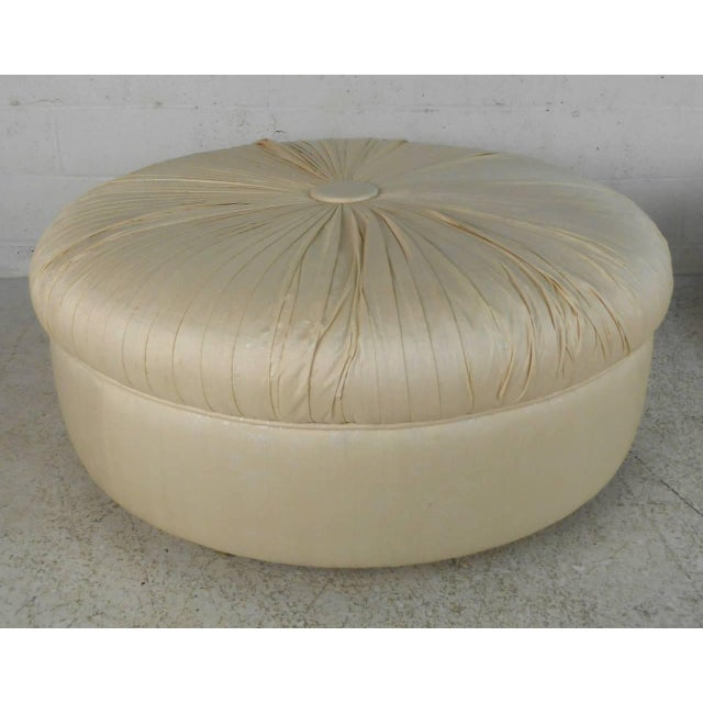 Mid-Century Modern Tufted Silk Ottomans- a Pair For Sale - Image 4 of 9