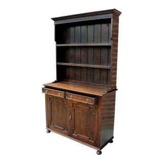 Antique English Oak 19th Century Jacobean Plate Dresser Buffet Sideboard Server Display Cabinet For Sale