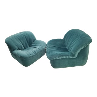 Vintage Deep Green Slipper Chairs - A Pair For Sale