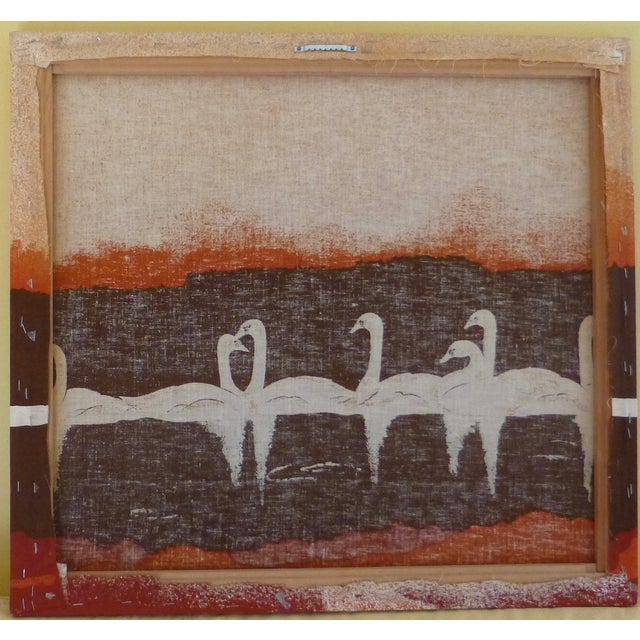 Vintage 1970s Fabric Art of Graceful Swans - Image 7 of 7