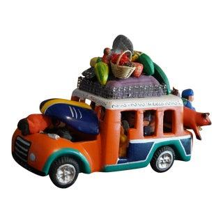 Mexican Folk Art Pottery Car For Sale