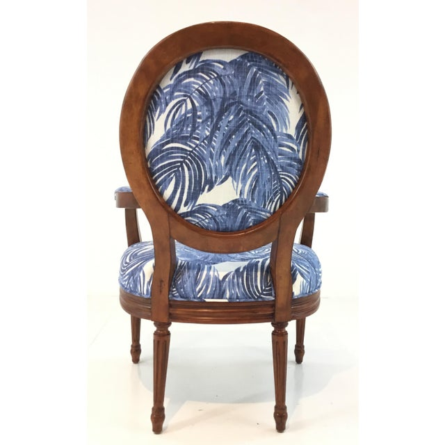 Port 68 French Style Blue Palm Print Avery Arm Chair For Sale In Atlanta - Image 6 of 7