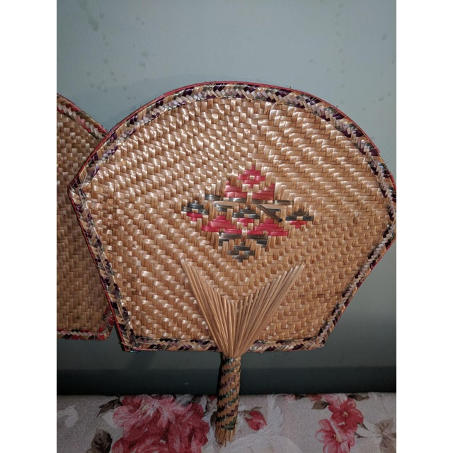 Tan Vintage Thai Woven Straw Bamboo Hand Fans - a Pair For Sale - Image 8 of 9