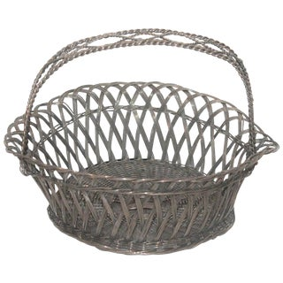 Sterling Silver Wire Basket With Handle For Sale