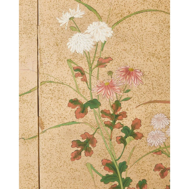 Metal Japanese Six Panel Meiji Screen Chrysanthemums and Waterfall For Sale - Image 7 of 13