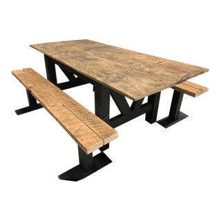 Reclaimed Barnwood Farmhouse Table and Benches W/Metal Base - Set of 3 For Sale
