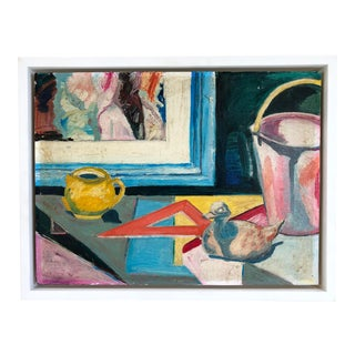 Framed Mid-Century Abstract Expressionist Still Life With Duck Figure Oil Painting on Board For Sale