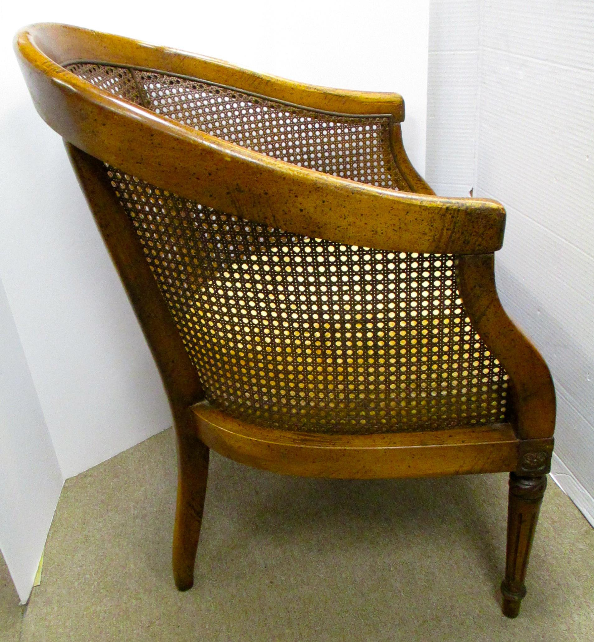 Lovely Vintage Cane Back Barrel Chair   Image 3 Of 5