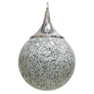 Asian Modern Fabio Ltd Crackled White Glass Pendant For Sale