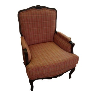1960s Vintage Wood Frame Upholstered Chair For Sale