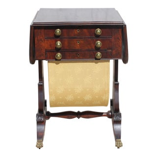 Classical Flame Mahogany Sewing Stand or Worktable Attributed to Rufus Pierce Boston For Sale