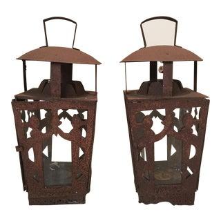 Ornate Indian Pillar Candle Lanterns - a Pair