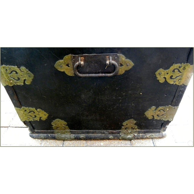 19th Century Sinhalese Sri Lanka Teak & Brass Trunk For Sale - Image 6 of 13