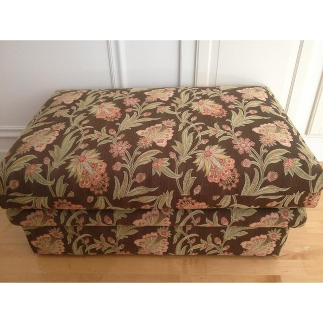 Custom Tapestry Upholstered Ottoman - Image 2 of 4