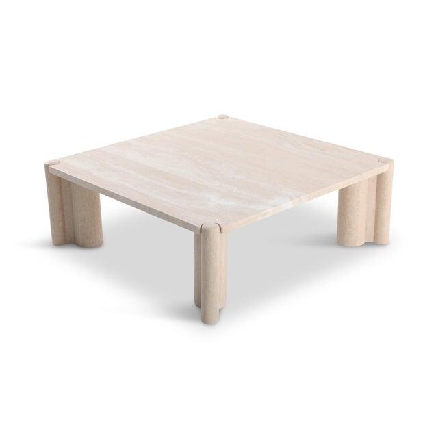 Gae Aulenti Jumbo Travertine Square Coffee Table For Sale - Image 9 of 9