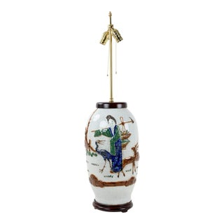 Mid 19 Century , Double Bulb Pull Switch White Crackle Glazed Relief Figures Lamp For Sale