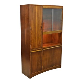Mid-Century Modern Lighted Glass Door Walnut China Hutch Cabinet For Sale