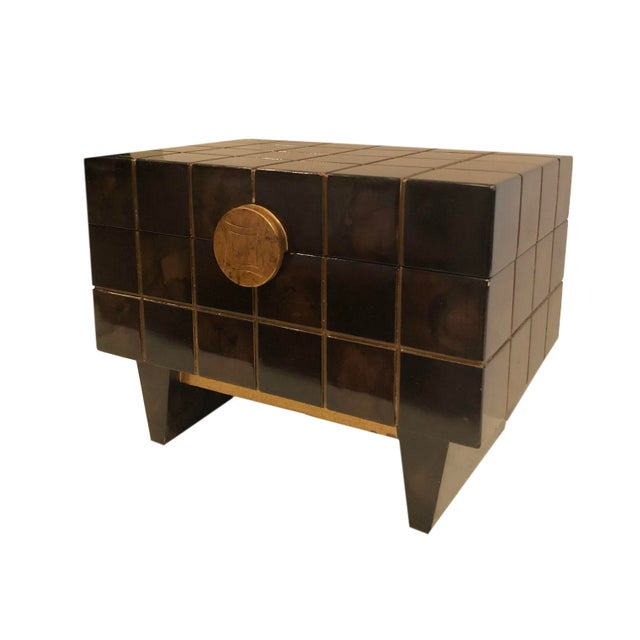 Lacquered 1970's box by Maitland Smith with gold accents.