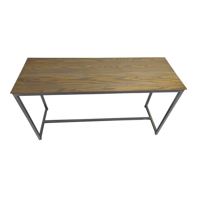 Oak Wood Top & Metal Base Console For Sale