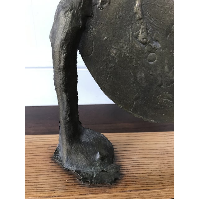 Bronze Vintage Mid Century Modern Bronze Metal and Wood Abstract Sculpture For Sale - Image 8 of 12