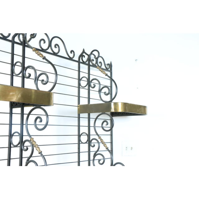 Metal Wrought Iron and Brass Bakers Rack For Sale - Image 7 of 10