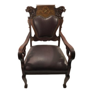 19th Century Antique Victorian Gothic Carved Chair For Sale