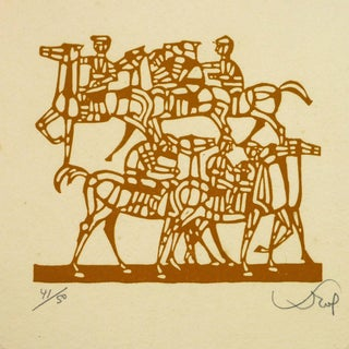 Woodcut of Horses and Riders For Sale