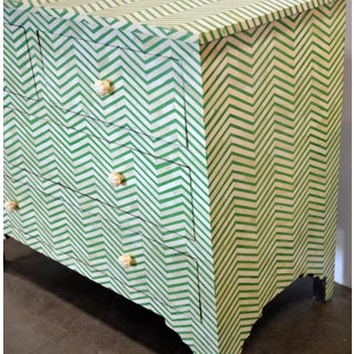 4-Drawer Bone Inlay Chevron Pattern Chest of Drawers Preview