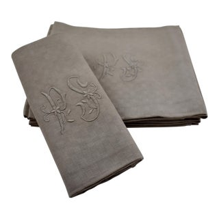 Dove Gray Linen Damask Hand Embroidered French Provençal Table Napkins, S/6 For Sale
